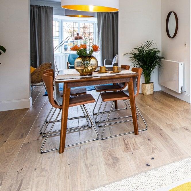 Smart Click - 14mm Engineered Wooden Flooring - Oak Cream Matt Lacquered