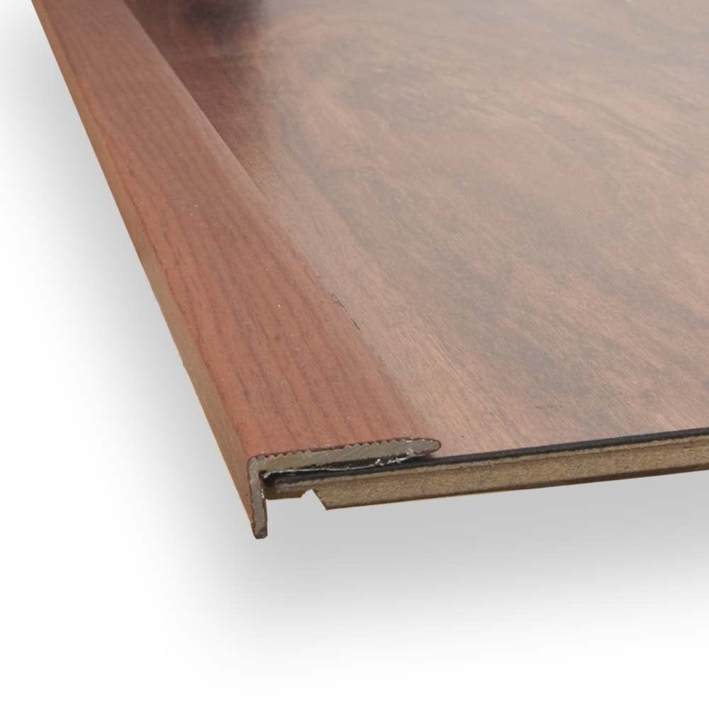 Intermezzo Grey Slate Effect Laminate Flooring 2 05 M: Stick Down Square Edge Trim 8mm Mahogany Finish 0.9m