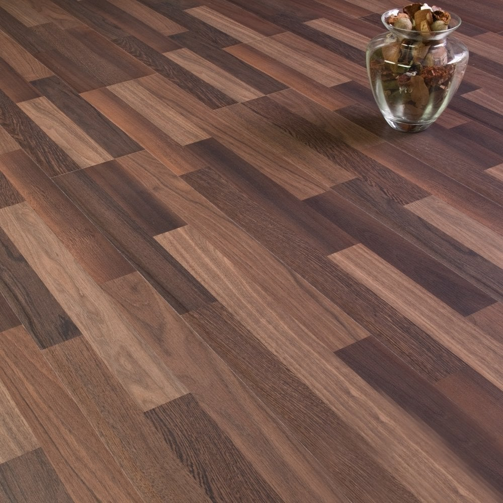 Sydney Walnut 3 Strip Laminate Flooring 7mm Flat Ac3 2 48m2