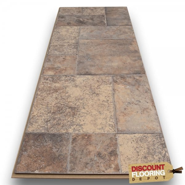 Toronto Mediterranean Roman Grey 8mm Flat Ac3 Tile Laminate Flooring From Discount