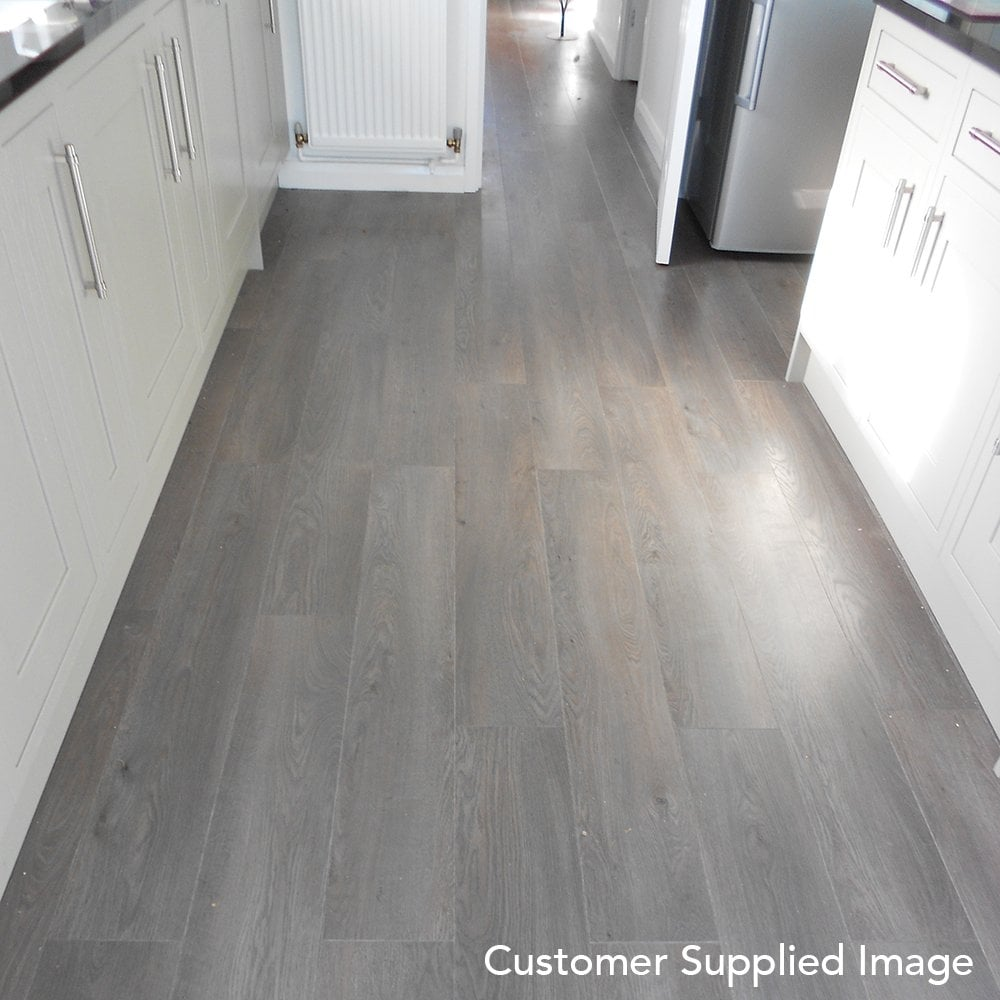 Winchester grey oak 8mm laminate flooring v groove ac4 2 for Grey bathroom laminate flooring
