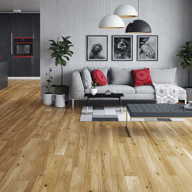 Woodland Click - 14mm x 130mm Engineered Wood Flooring - Country Oak Matt Lacquered