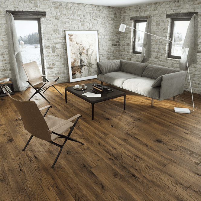 Woodland Click Engineered Oak Flooring 14/2.5mm x 130mm Country Walnut Lacquered 0.99m2